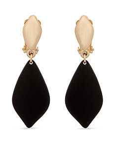 Erica Lyons Gold-Tone Soft Diamond Drop Clip Earrings