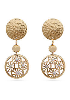 Erica Lyons Gold-Tone Filigree Disk Drop Clip Earrings