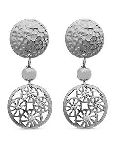 Erica Lyons Silver-Tone Filigree Disk Drop Clip Earrings
