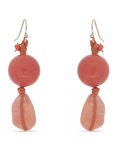Erica Lyons Gold-Tone Coral Me Bad Double Bead Drop Pierced Earrings