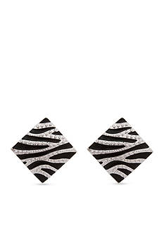Erica Lyons Silver-Tone Animal Print Square Clip Button Earrings