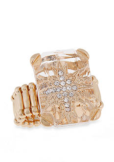 Erica Lyons Gold-Tone Crystal Star Stretch Ring