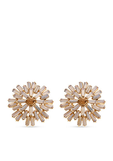 Erica Lyons Gold-Tone Amber Crystal Burst Button Earrings