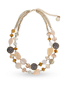Erica Lyons Over The Taupe Double Row Beaded Necklace