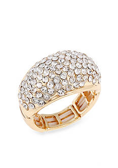 Erica Lyons Gold-Tone Crystal Dome Stretch Ring