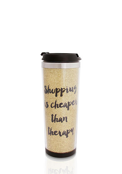 Erica Lyons Shopping Is Cheaper Than Therapy Stainless Steel Gift Traveler Tumbler