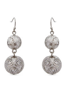 Erica Lyons Silver-Tone Prince Charming Double Drop Pierced Earrings