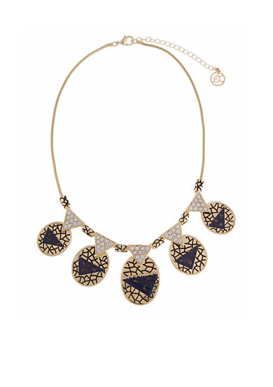 Erica Lyons Gold-Tone Chambray'd Oval Discs Collar Necklace