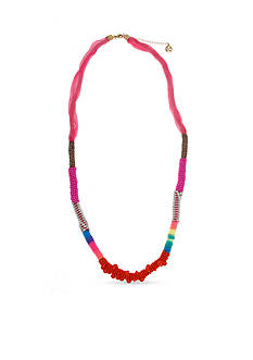 Erica Lyons Beaded All About It Collection Pink Color Block Wrapped Necklace