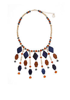 Erica Lyons Gold-Tone Chambray'd Fringe Statement Necklace