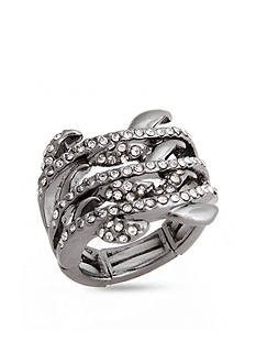 Erica Lyons Hematite-Tone Glamorous Multi Row Fashion Stretch Ring