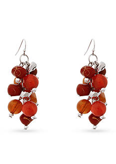 Erica Lyons Silver-Tone Orange You Glad Cluster Drop Earrings