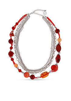 Erica Lyons Silver-Tone Orange You Glad Layered Short Necklace