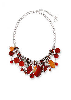 Erica Lyons Silver -Tone Orange You Glad Shaky Bead Front Necklace