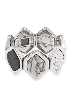 Erica Lyons Silver-Tone Gray Area Hexagonal Stretch Bracelet
