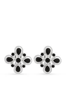 Erica Lyons Silver-Tone Square Cluster Clip Earrings