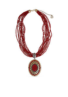 Erica Lyons Gold-Tone You Had Me At Merlot Oval Pendant Necklace