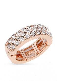 Erica Lyons Rose Gold-Tone Wedding Band Fashion Stretch Ring