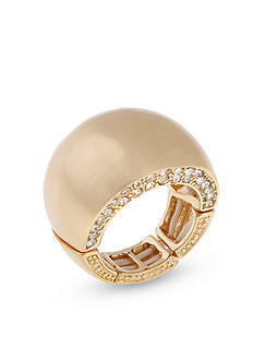 Erica Lyons Gold-Tone Wide Band Fashion Stretch Ring