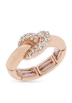 Erica Lyons Rose Gold-Tone Thin Knot Fashion Stretch Ring