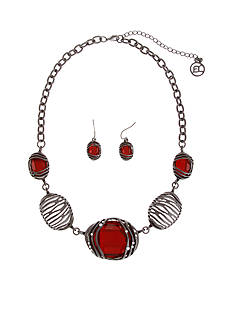 Erica Lyons Hematite-Tone Ruby Necklace And Earring Boxed Set