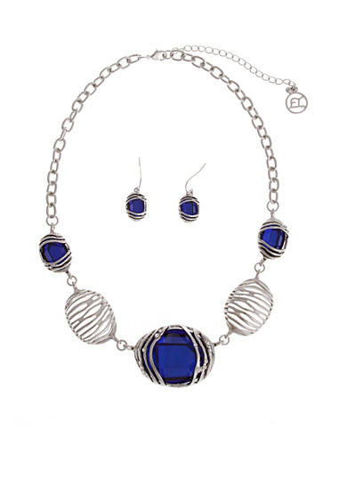 Erica Lyons Silver-Tone Sapphire Necklace And Earring Boxed Set