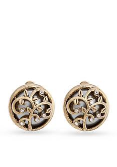 Erica Lyons Gold-Tone Grey Gatsby Dome Clip Earrings