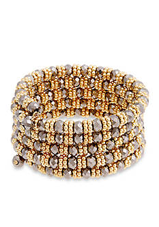 Erica Lyons Gold-Tone Meet Me In Glitzerland Beaded Coil Stretch Bracelet