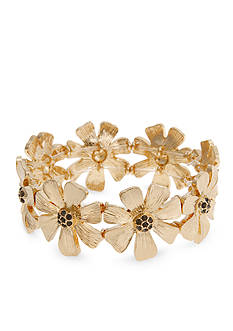 Erica Lyons Gold-Tone Meet Me In Glitzerland Casted Flower Stretch Bracelet