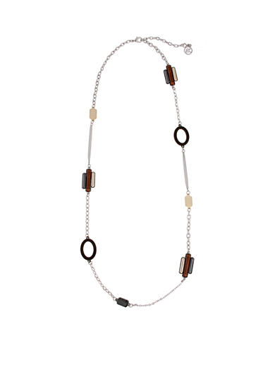 Erica Lyons Tri-Tone Triple Play Long Station Necklace