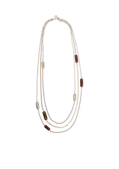 Erica Lyons Tri-Tone Triple Play Layered Long Necklace
