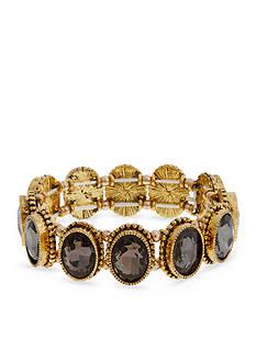 Erica Lyons Gold-Tone Grey Gatsby Stone Stretch Bracelet