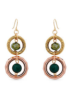 Erica Lyons Gold-Tone Teal Me About It Double Drop Pierced Earrings