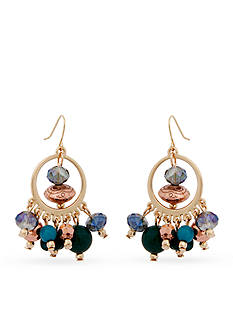 Erica Lyons Gold-Tone Teal Me About It Gypsy Hoop Earrings