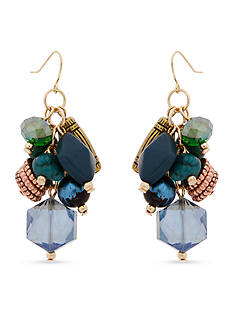 Erica Lyons Gold-Tone Teal Me About It Cluster Drop Pierced Earrings