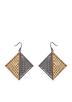 Erica Lyons Gold-Tone All Mixed Up Drop Square Earrings