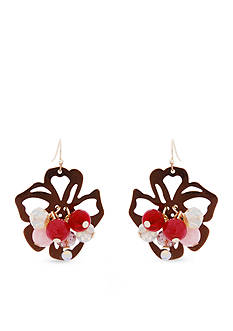 Erica Lyons Gold-Tone Mauve About You Flower Drop Earrings