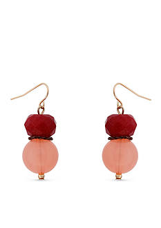 Erica Lyons Gold-Tone Mauve About You Double Drop Pierced Earrings