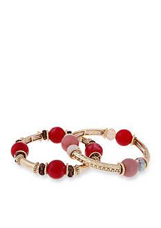 Erica Lyons Gold-Tone Mauve About You Stretch Bracelet Set