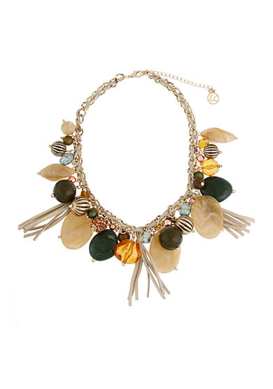 Erica Lyons Gold-Tone Straight Up Olive Statement Necklace