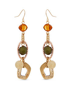 Erica Lyons Gold-Tone Straight Up Olive Triple Drop Earrings