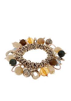 Erica Lyons Gold-Tone Straight Up Olive Shaky Stretch Bracelet