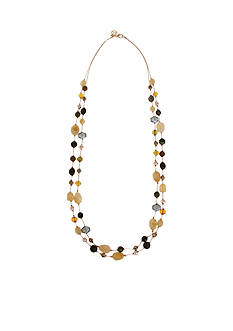 Erica Lyons Gold-Tone Straight Up Olive Long Double Strand Necklace