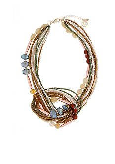 Erica Lyons Gold-Tone Straight Up Olive Knot Front Short Necklace