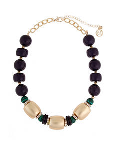 Erica Lyons Gold-Tone In The Midnight Hour Large Bead Collar Necklace