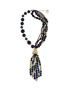 Erica Lyons Gold-Tone In The Midnight Hour Short Tassel Necklace