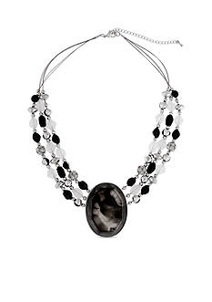 Erica Lyons Silver-Tone Dark and Stormy Oval Stone Collar Necklace