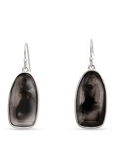 Erica Lyons Silver-Tone Dark and Stormy Drop Earrings