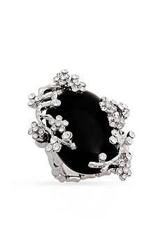 Erica Lyons Silver-Tone Glamorous Oval Fashion Stretch Ring