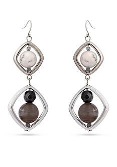 Erica Lyons Silver-Tone Gray Area Double Drop Pierced Earrings